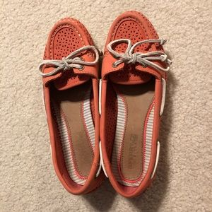 Sperry Top-Sider Perforated Boat Shoe in Coral
